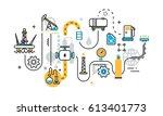 flat line illustration concept... | Shutterstock .eps vector #613401773