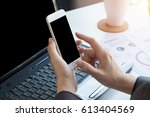 business people using mobile...   Shutterstock . vector #613404569