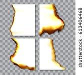 set of burnt sheets of paper... | Shutterstock .eps vector #613406468