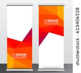 red orange roll up business... | Shutterstock .eps vector #613406528