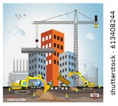 process of construction of... | Shutterstock .eps vector #613408244