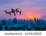 Drone Flying Over The City