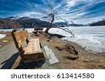 wooden bench to admire the... | Shutterstock . vector #613414580
