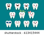 set of cute tooth emoji and... | Shutterstock .eps vector #613415444