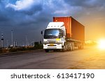 truck transportation import... | Shutterstock . vector #613417190