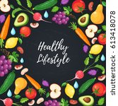 eat healthy food poster with... | Shutterstock .eps vector #613418078