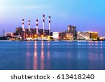 at dusk  the thermal power... | Shutterstock . vector #613418240