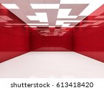 simple empty room interior with ... | Shutterstock . vector #613418420