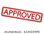 approved stamp. vector.... | Shutterstock .eps vector #613423490