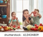healthy food at home. happy... | Shutterstock . vector #613434809