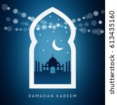 arabic window with the... | Shutterstock .eps vector #613435160
