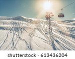 skiers on the chairlift in high ...   Shutterstock . vector #613436204