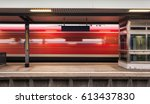 railway platform with high... | Shutterstock . vector #613437830