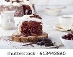 black forest cake  schwarzwald...   Shutterstock . vector #613443860
