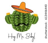 cactus print with funny smiling ... | Shutterstock .eps vector #613446440
