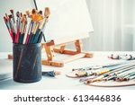artistic equipment  easel ... | Shutterstock . vector #613446836