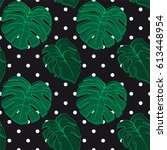seamless pattern with tropical... | Shutterstock .eps vector #613448954