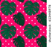 seamless pattern with tropical... | Shutterstock .eps vector #613448978