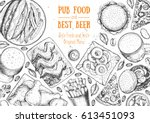 pub food frame vector... | Shutterstock .eps vector #613451093