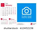 calendar for 2018 year. vector... | Shutterstock .eps vector #613452158