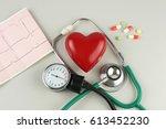 stethoscope  electrocardiogram  ...   Shutterstock . vector #613452230