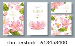 Vector Pink Lotus Banners Set...