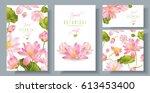 vector pink lotus banners set... | Shutterstock .eps vector #613453400