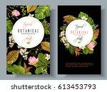 vector tropical plants vertical ... | Shutterstock .eps vector #613453793