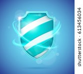 realistic shield  a symbol of... | Shutterstock .eps vector #613456034