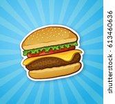 vector illustration. hamburger... | Shutterstock .eps vector #613460636