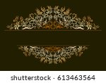 decorative golden frame with... | Shutterstock . vector #613463564