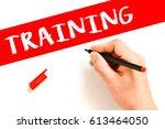 training   human hand writing... | Shutterstock . vector #613464050