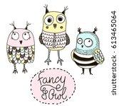 set of funny owls. doodle owls...   Shutterstock .eps vector #613465064