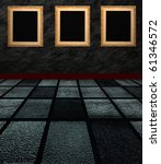 three frames in room - stock photo