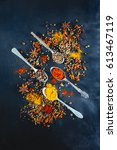 various seasoning spoons on... | Shutterstock . vector #613467119