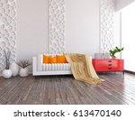 white interior design with... | Shutterstock . vector #613470140