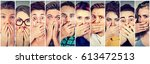 group of shocked people men and ... | Shutterstock . vector #613472513