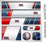 usa flag color  vector banners... | Shutterstock .eps vector #613473794