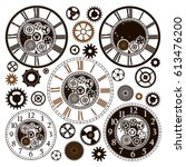 clock faces with parts on white ... | Shutterstock .eps vector #613476200
