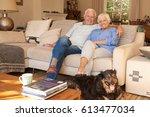 relaxed senior couple sitting... | Shutterstock . vector #613477034