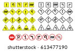 set of different road signs.... | Shutterstock .eps vector #613477190