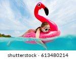 split underwater photo of...   Shutterstock . vector #613480214