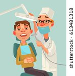 dentist and patient characters. ... | Shutterstock .eps vector #613481318