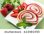 delicious cake roll with... | Shutterstock . vector #613481450