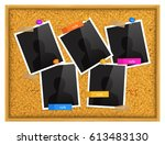 cork notice board with photo... | Shutterstock .eps vector #613483130