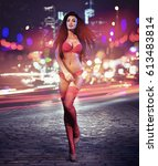sexy brunette on night city... | Shutterstock . vector #613483814