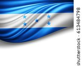 honduras flag of silk with... | Shutterstock . vector #613484798