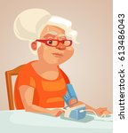 grandmother character measuring ... | Shutterstock .eps vector #613486043