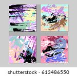 set of hand drawn abstract... | Shutterstock .eps vector #613486550