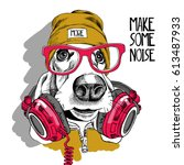 Stock vector basset hound dog in a red glasses yellow hipster hat and with a headphones on the neck vector 613487933